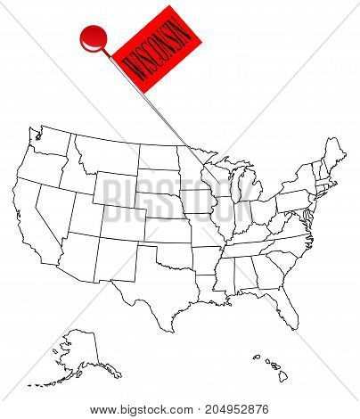 An outline map of USA with a knob pin in the state of Wisconsin