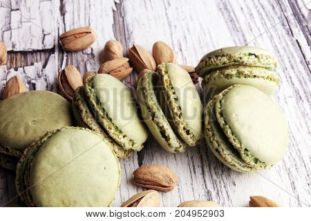 Sweet And Colourful French Macaroons Or Macaron With Pistachio