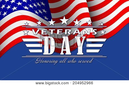 Veterans Day background with stars, USA flag and lettering. Template for Veterans Day. Vector illustration.