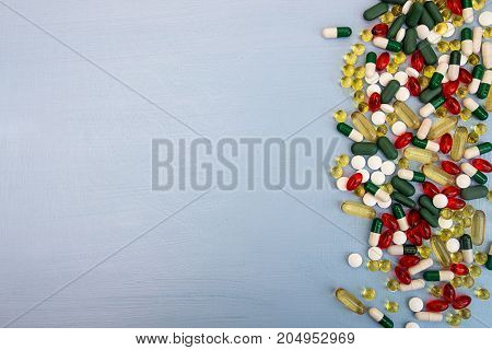 Pills Background. Heap Of Assorted Various Medicine Tablets And Pills In Blisters Different Colors O