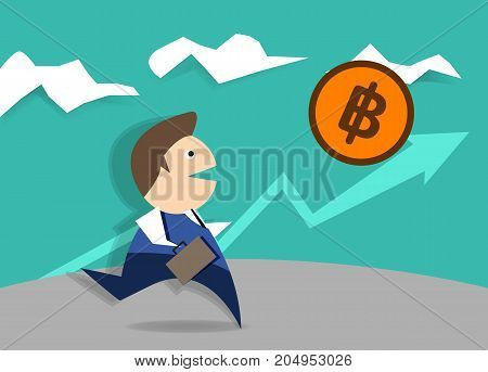 Simple cartoon of a businessman running. Vector