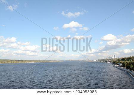 Kama river in city Perm of Russia, landscape photo