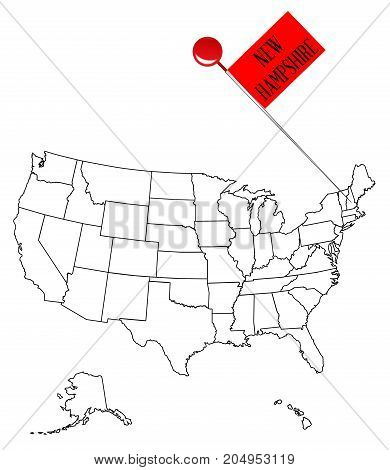 An outline map of USA with a knob pin in the state of New Hampshire