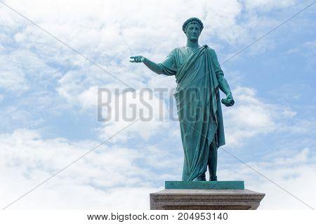 Duke de Richelieu Monument against cloudy sky background. Odessa's first Mayor. Bronze statue. Odessa. Ukraine.