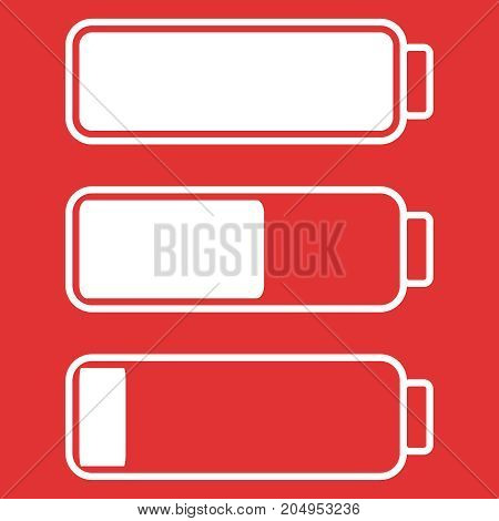 Smartphone or cell phone low battery icon. Low energy symbol. Flat vector illustration. Red and white.