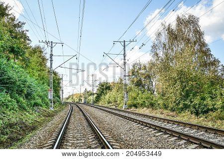 Double rack electrified railway line n Russia, Perm