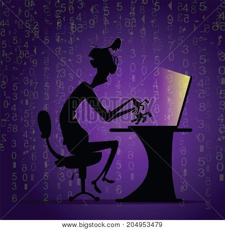 Personal data or comtuter security concept. Man working on code. Concept of internet crime. Vector