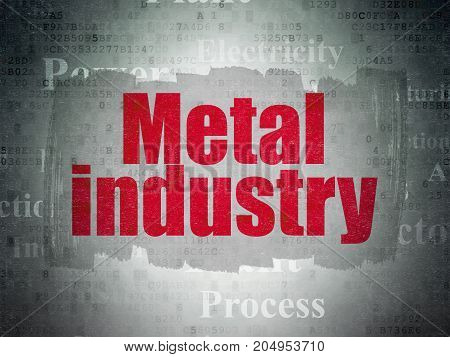 Industry concept: Painted red text Metal Industry on Digital Data Paper background with   Tag Cloud
