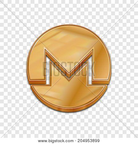 Golden monero coin symbol isolated web vector icon. Monero coin trendy 3d style vector icon. Raised symbol illustration. Golden monero coin crypto currency sign.