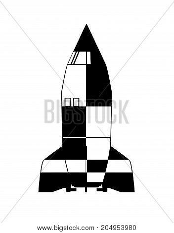 Cartoon V2 German World War 2 Rocket over a white background