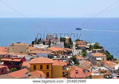 Landscape of seaside town of Kavala in Greece.