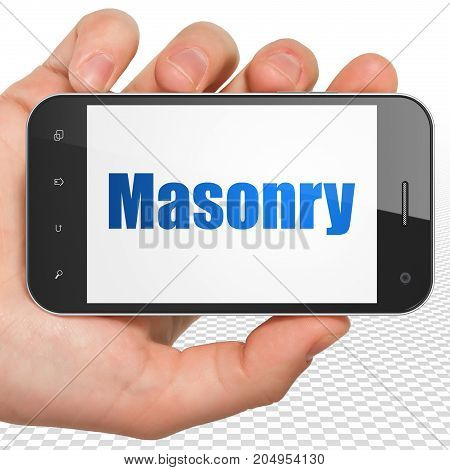 Building construction concept: Hand Holding Smartphone with blue text Masonry on display, 3D rendering
