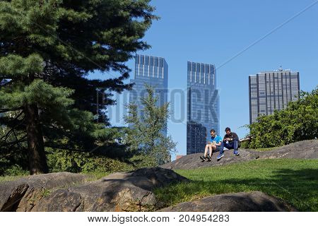 New York City, Usa, September 10, 2017 : People In Central Park. Central Park Is The Most Visited Ur