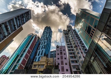 Highrise residential buildings in Cause Way Bay, Hong Kong