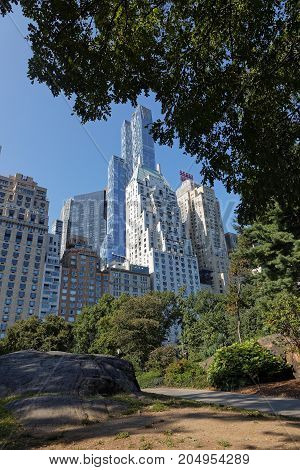 New York City, Usa, September 10, 2017 : Central Park And Buildings. Central Park Is The Most Visite