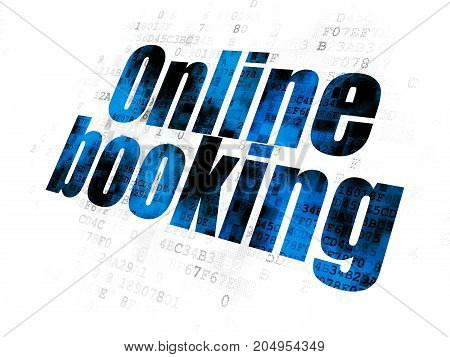 Vacation concept: Pixelated blue text Online Booking on Digital background