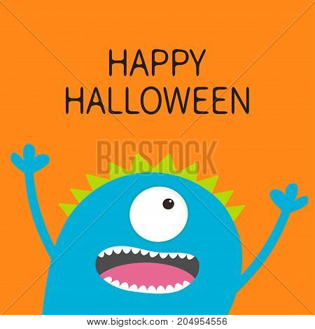 Happy Halloween card. Screaming spooky monster head silhouette. One eye teeth tongue hands. Funny Cute cartoon character. Baby collection. Flat design. Orange background. Vector