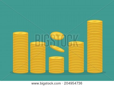 Stacks of gold coin icon. Diagram shape. Cash money. Dollar sign symbol. Going up graph. Income and profits. Growing business concept. Green background. Isolated. Flat design. Vector illustration