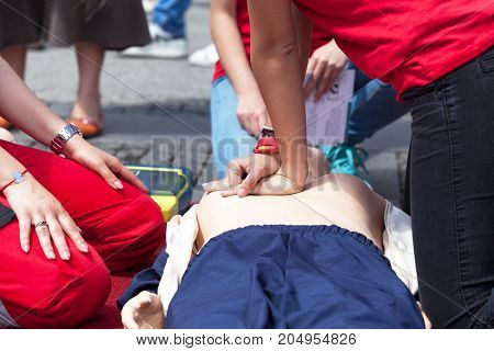 First aid. Cardiopulmonary resuscitation - CPR. Cardiac massage training.