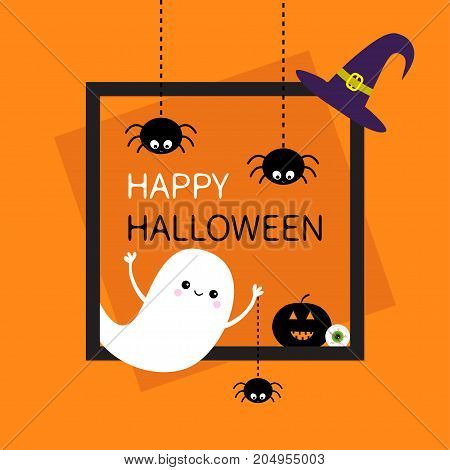 Happy Halloween. Square frame. Flying ghost Three black spider web dash line silhouette. Pumpkin eyeball witch hat. Cute cartoon baby character. Flat design. Orange background. Vector illustration