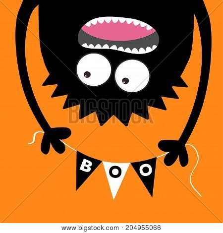 Happy Halloween Screaming monster head silhouette. Bunting flags pack Boo letters. Flag garland. Hanging upside down. Black Funny Cute cartoon baby character. Flat design. Orange background. Vector
