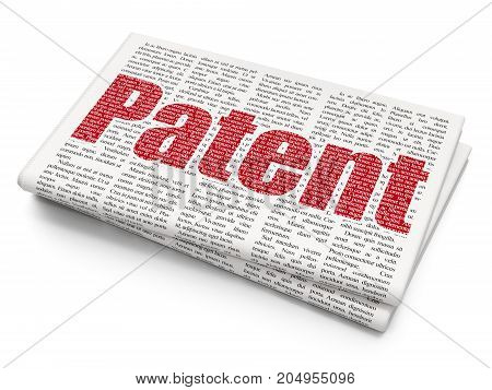 Law concept: Pixelated red text Patent on Newspaper background, 3D rendering