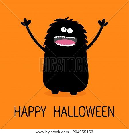 Screaming monster silhouette looking up. Two eyes teeth tongue spooky hands. Black Funny Cute cartoon baby character. Happy Halloween. Flat design. Orange background. Vector