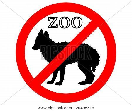 Detailed and colorful illustration of jackal in zoo prohibited poster