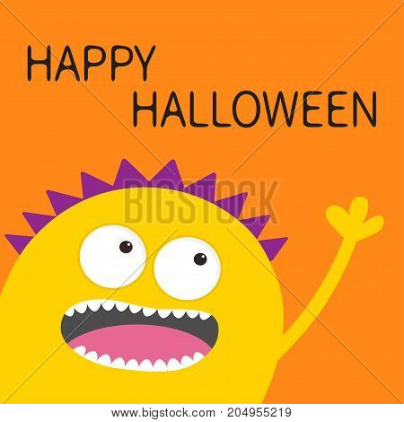 Happy Halloween card. Yellow screaming spooky monster head silhouette. Two eyes teeth tongue hand. Funny Cute cartoon character. Baby collection. Flat design. Orange background. Vector