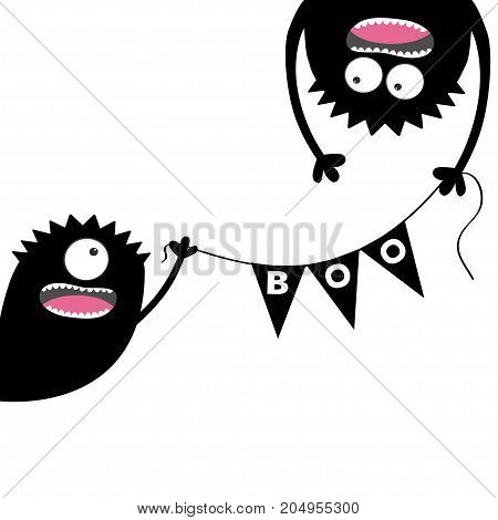 Happy Halloween Two screaming monster head silhouette. Bunting flags pack Boo letters. Flag garland. Hanging upside down. Black Funny Cute cartoon baby character. Flat design. White background. Vector
