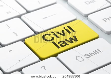 Law concept: computer keyboard with word Civil Law, selected focus on enter button background, 3D rendering