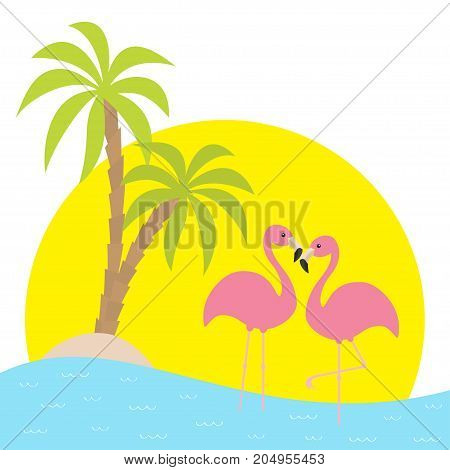 Two pink flamingo standing on one leg. Palms tree island ocean see water wave sun set. Exotic tropical bird. Zoo animal collection. Cute cartoon character. Love Flat design White background Vector