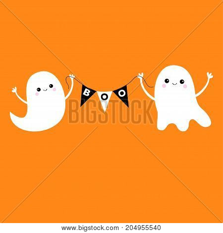 Flying ghost spirit holding bunting flag Boo. Two scary white ghosts. Cute cartoon spooky character. Smiling face hands. Happy Halloween. Orange background. Greeting card. Flat design. Vector