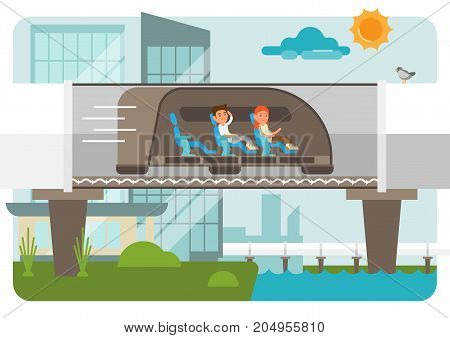 Hyper loop illustration on cityscape background with two passengers - male and female.