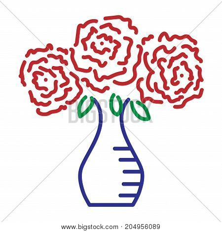 Three roses in vase sign. Image of floral. Color icon isolated on white background. Bloom flower symbol. Logo for romantic. Florist content. Mark of blossom. Stock vector illustration