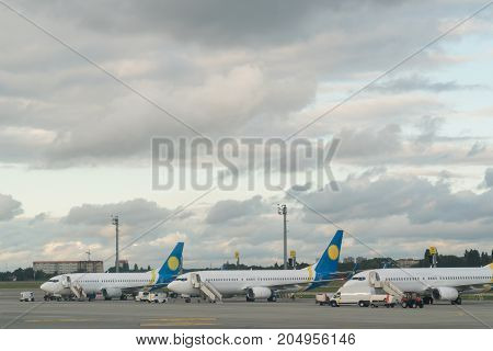 aircraft in the airport ready for the flight.
