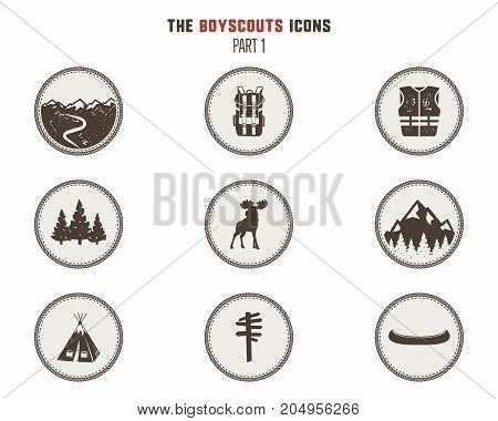Boy scouts icons, patches. Camping stickers. Tent, moose, backpack, canoe and others. Stock vector illustration isolated on white background. Part 1.