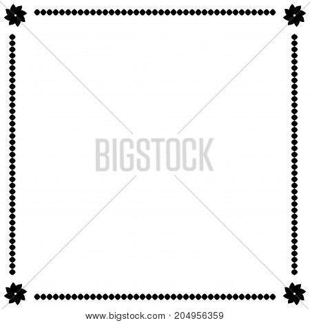 Frame black. Border from ovals and flowers. Decoration banner rim. Monochrome framework isolated on white background. Decoration concept. Modern art scoreboard. Stock vector illustration