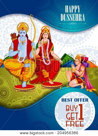 easy to edit vector illustration of Lord Rama and Sita in Happy Dussehra Offer promotion background showing festival of India