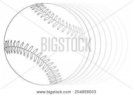 A new white speedingbaseball isolated on a white background white background.