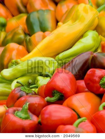 Assortment Of Peppers At A Market