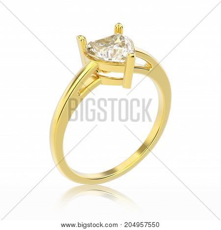 3D illustration isolated yellow gold engagement ring with diamond heart with reflection on a white background