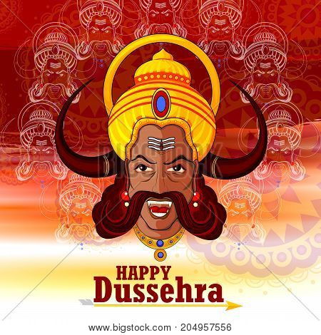 easy to edit vector illustration of Ravana monster in Happy Dussehra background showing festival of India