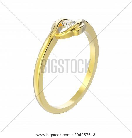 3D illustration isolated yellow gold engagement illusion twisted ring with diamond on a white background