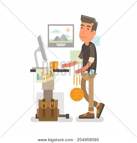 Generation Y, Millennial Flat vector illustration showing a guy at a standing desk with a cup of coffee on it while working and dribbling a ball along that.