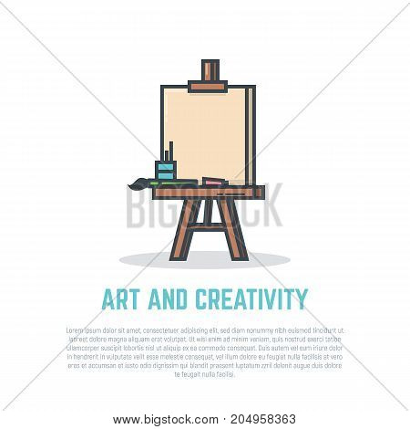 Linear easel with blank canvas and brush. Retro colors and shadows. Flat style line modern vector illustration with retro colors. Template for banner commercial article or web with text.