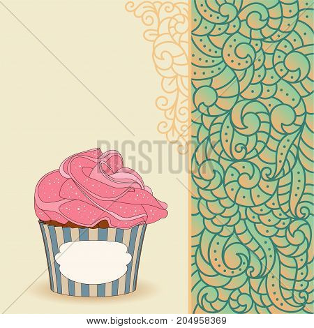 Sweet cupcake with cream rose on card with doodle boho pattern Ideal for posters, advertisements, announcements, labels, banner, menu for cafe and restaurants. Vector illustration