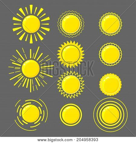 Set of bright shining suns isolated on a dark background with rays of different shapes and sizes. Line and flat style vector illustration.