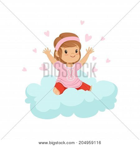Sweet little girl sitting on cloud surrounded by pink hearts, kids imagination and dreams vector illustration isolated on a white background