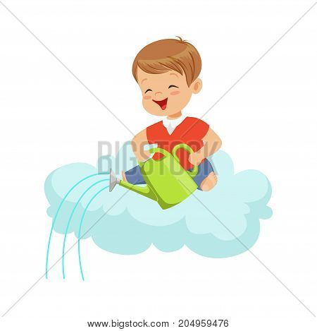 Happy smiling little boy pouring water while sitting on cloud, kids imagination and dreams vector illustration isolated on a white background